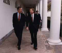 President George Bush and Vice President Dan Quayle walking together