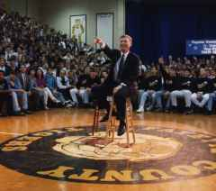Vice President Dan Quayle talking in a high school gym